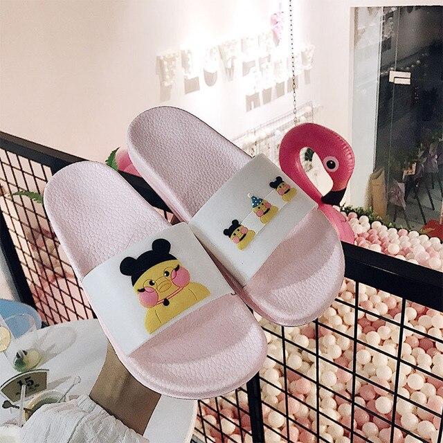 Mulheres Chinelos de Verão Sandálias Plataforma Mulheres Slides Gato Bonito Dos Desenhos Animados Antiderrapante Em Chinelos Chinelos de Praia Zapatillas Mujer ME438