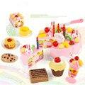 75 pcs cozinha toys pretend play corte do bolo de aniversário brinquedo comida cozinha para crianças cocina de juguete de plástico play food chá conjunto