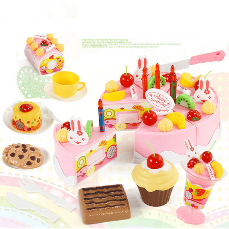 75Pcs Kitchen Toys Pretend Play Cutting Birthday Cake Food