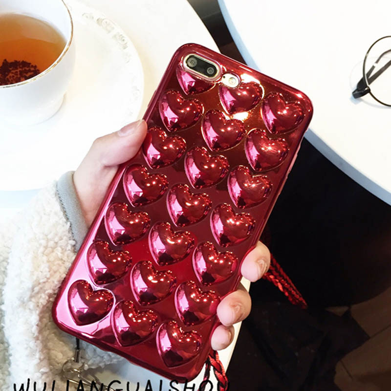 For Iphone 6 6S Plus 7 7 Plus Phone Shell 3D Love Heart Soft TPU Candy Colors Electroplating Phone Cases Cover With Rope