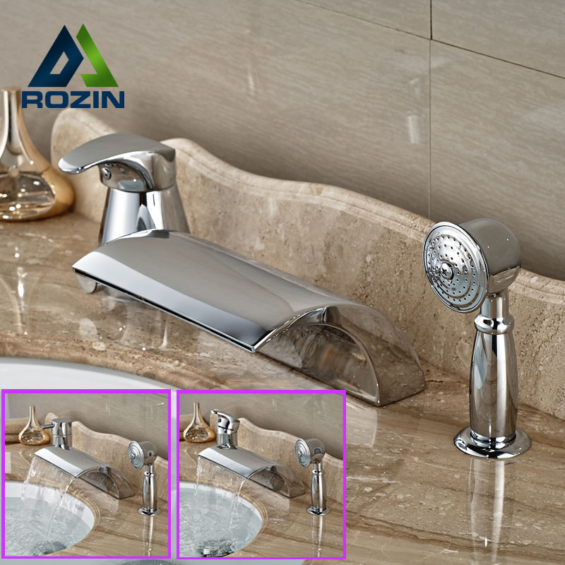 Modern Chrome Brass Widespread Bath tub Filler Deck Mount Waterfall Bathtub Mixer Faucet Single Handle luxury widespread deck mount waterfall bathtub mixer faucet three handles bath tub filler chrome finish
