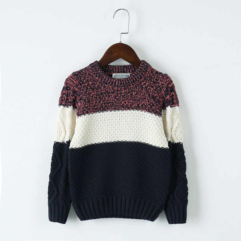 Весенне-осенняя кофта классическая блузка для мальчиков Детский свитер детская одежда пуловер Одежда в полоску с круглым вырезом для детей