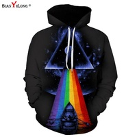 BIANYILONG Sweatshirts Men Women 3d Sweatshirts Print Sunlight Refraction Rainbow Hooded Hoodies Pullover Tops Hoody Size