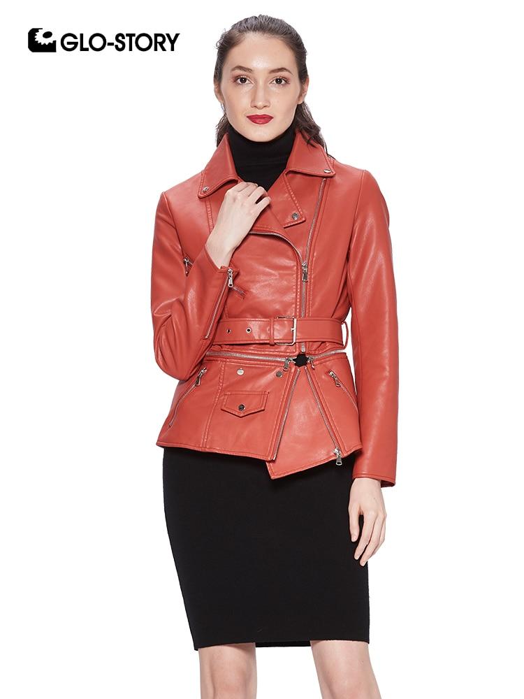 GLO-STORY Fashion Women   Leather   Jackets with Sashes Zipper Pocket Women Coats 2018 Autumn Multiple Wear Lady's Jacket WPY-7530