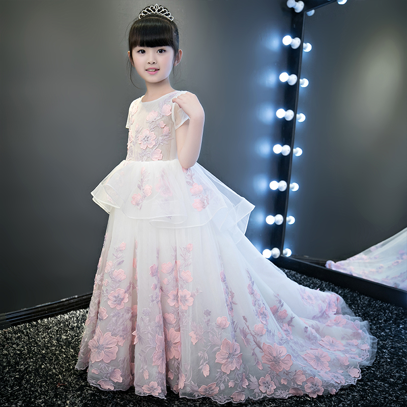 ade383edc84c European Luxury Girls Party Princess Dress Kids Embroidered Formal ...