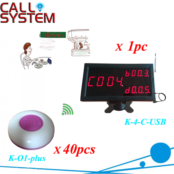 Wireless Service Bell Calling Pager System for a Restaurant Fast food ( 1 display panel +40 table bell button) one set wireless system waiter caller bell service 1 watch wrist pager with 5pcs table customer button ce passed