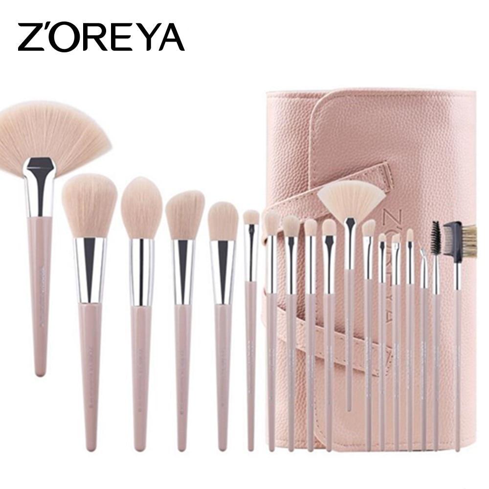ZOREYA 18pcs Makeup Brush Set Pink Synthetic Hair Make Up Brushes Powder Foundation Concealer Eye Brow Brush Cosmetic Tool