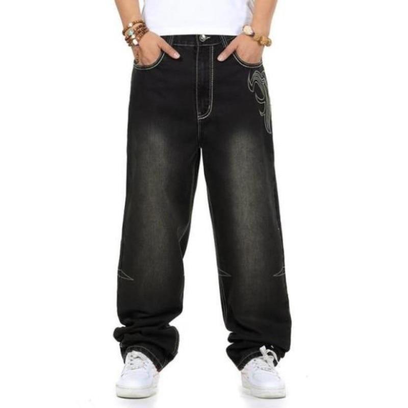 Marca Streetwear Oversize Mutanda Jean Denim Di Plus Black Size Pantaloni  Hip Degli Uomini Neri Baggy ... 6453515fae9e