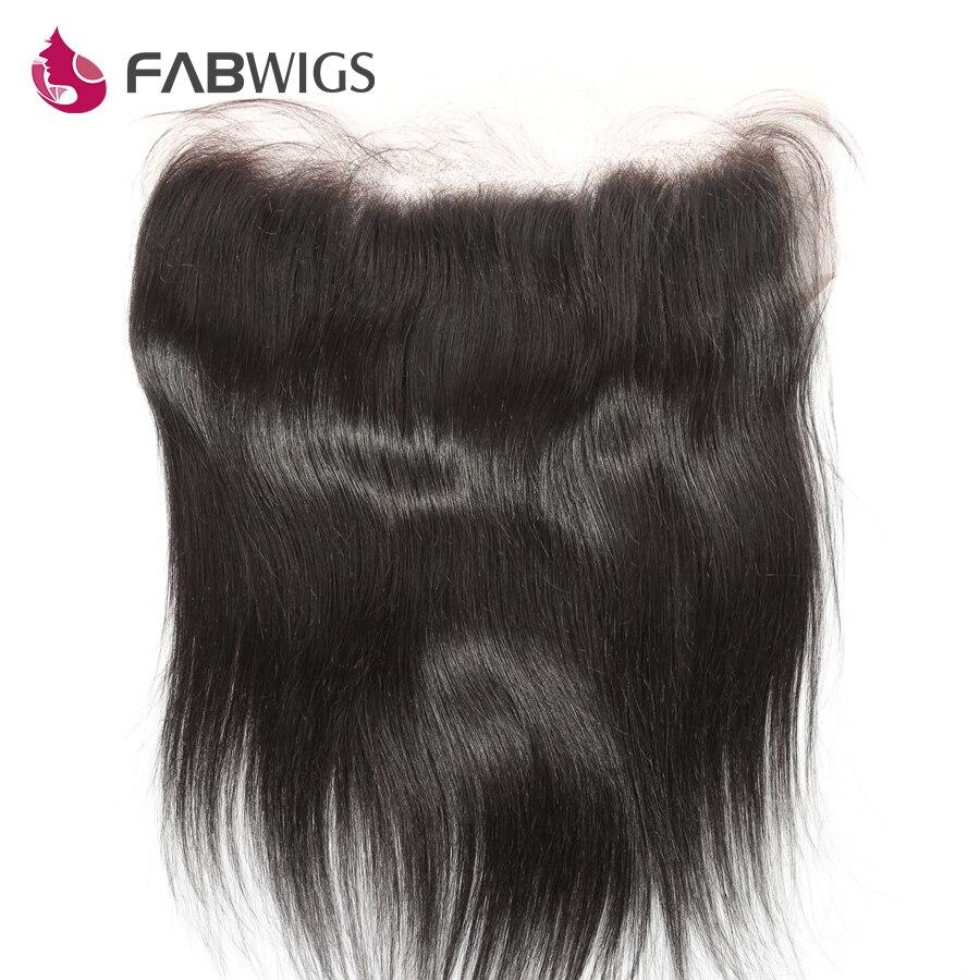 Fabwigs Péruvienne Soyeux Droite 13x6 Dentelle Frontale Pré Pincées Dentelle Frontale Fermeture Noeuds Blanchis avec Bébé Cheveux 10-20 Remy