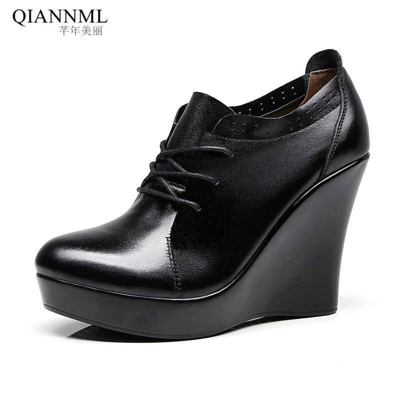 Plus Size 33-41 Lace Up Wedges Shoes For Women 2019 Autumn Platform Pumps Woman High Heels Black Office Shoes Ladies 11cm