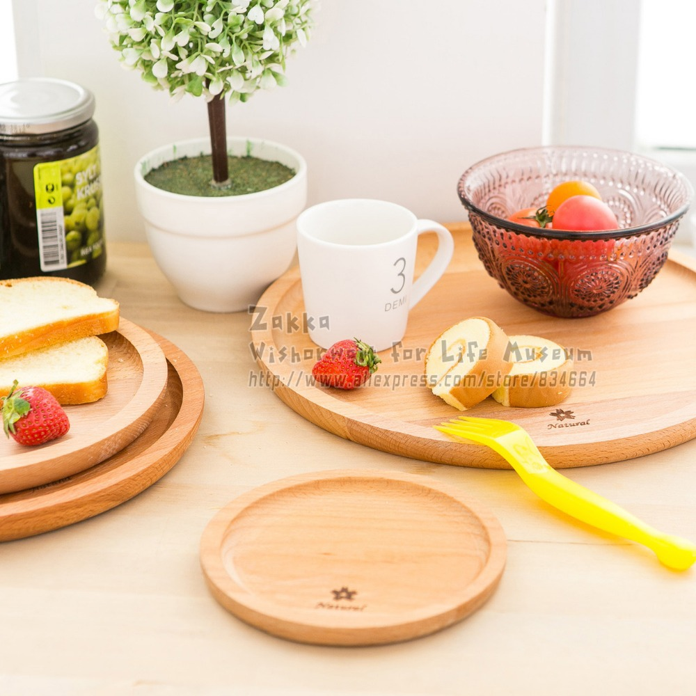 New arrival Zakka 1Pcs Round solid beech wood bread plate/Wood without paint fruit plate ...