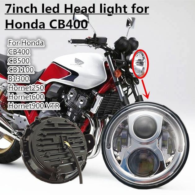 1 pièces pour Honda CB400 CB500 CB1300 Hornet 250 600 900 TEV CVTR250 Montage de vélo H4 général projecteur LED Phare 7 pouces