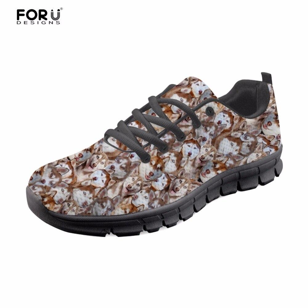 FORUDESIGNS Women Shoes Cute Husky Puzzle Print Casual Women Sneakers Flats Summer Fashion Girls Comfortable Mesh Shoes Woman