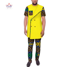 Dashiki Men African Clothes Double Breasted Top Shirts and Pants Sets Bazin Riche African Clothing Men 2 Pieces Pants Sets WYN93 bazin riche men 2 pieces pants sets african clothes casual men jacquard pattern patchwork top shirt and pants sets wyn767