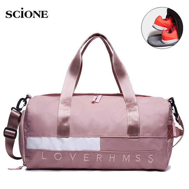 Fitness Gym Bags Women Men Training Letter Printed Handbag Travel Tote Sack Weekend Luggage Bag Sac Sport Gymnastics XA772WA