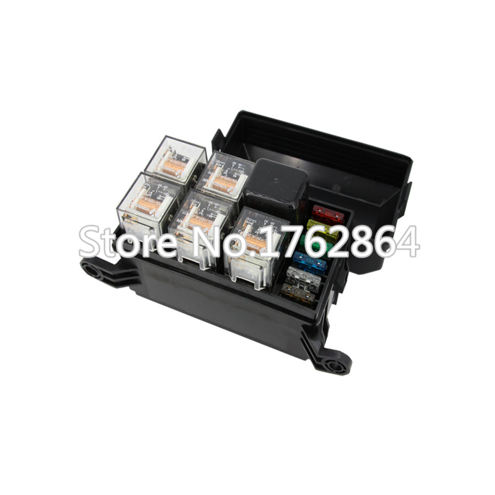 6 ways Auto Relay Fuse box assembly with 4Pin 12V 40A + 5PCS 5Pin 24V 40A relay Auto car insurance tablets mounting fuse box 5pin relay socket connector 12v 30amp 40amp 6 3mm car truck vehicle terminal case