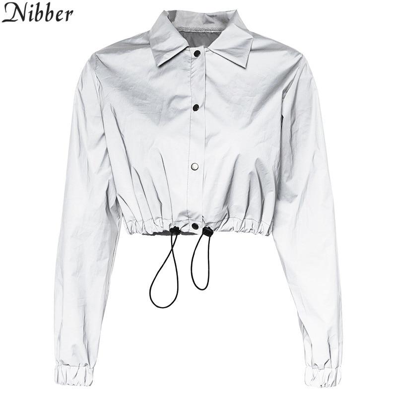HTB15dKMMVzqK1RjSZFoq6zfcXXar Nibber fashion Reflective Fluorescence women jackets 2019 new Spring autumn long sleeve crop tops Shining sweatshirt Active Wear