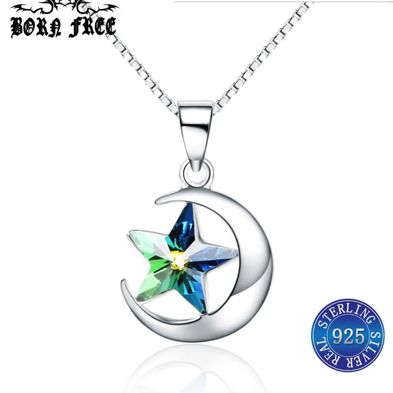 sterling silver 925 jewelry best friends star moon pendant choker charms pendentif jewelry bijoux colgante necklaces & pendants