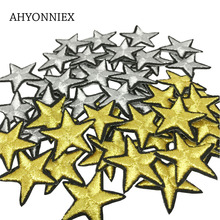 10 PCS Golden Silver Star Patches Iron on Badges Stripes Metal Wires Patch Clothes Appliques Sewing Embroidery Cute Stickers