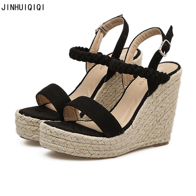 21521e507df Summer Womens Wedge Sandals Fashion Linen Weaving Wedges Women Sandals 2018  Gladiator Wedges Shoes For Women