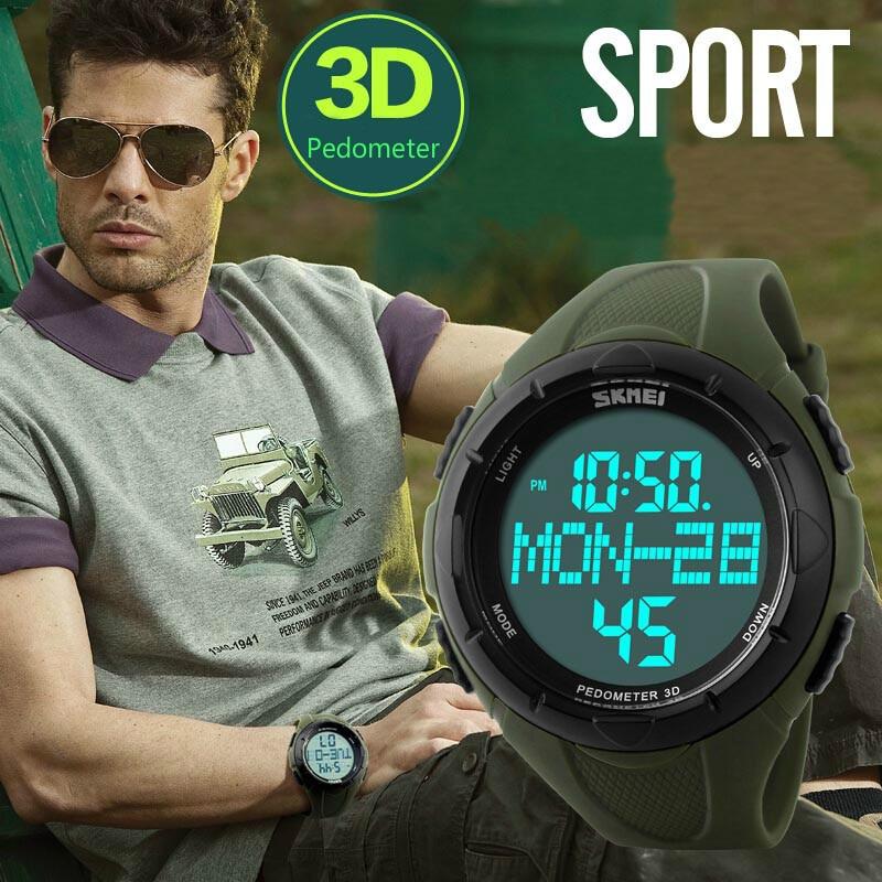 Digital Watch Skmei Luxury Pedometer Relogio 1122 3D LED Brand Sport Calories Men
