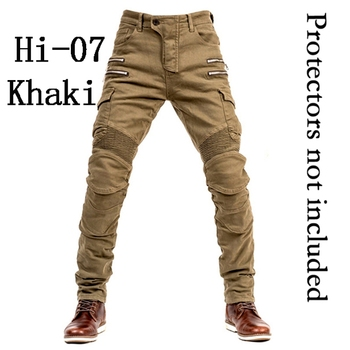 2019 New Khaki Motorcycle Pants Black Men Moto Jeans Zipper Protective Gear Blue Motorbike Trousers Motocross Pants Moto Pants - Hi-07 Khaki Jeans O, M