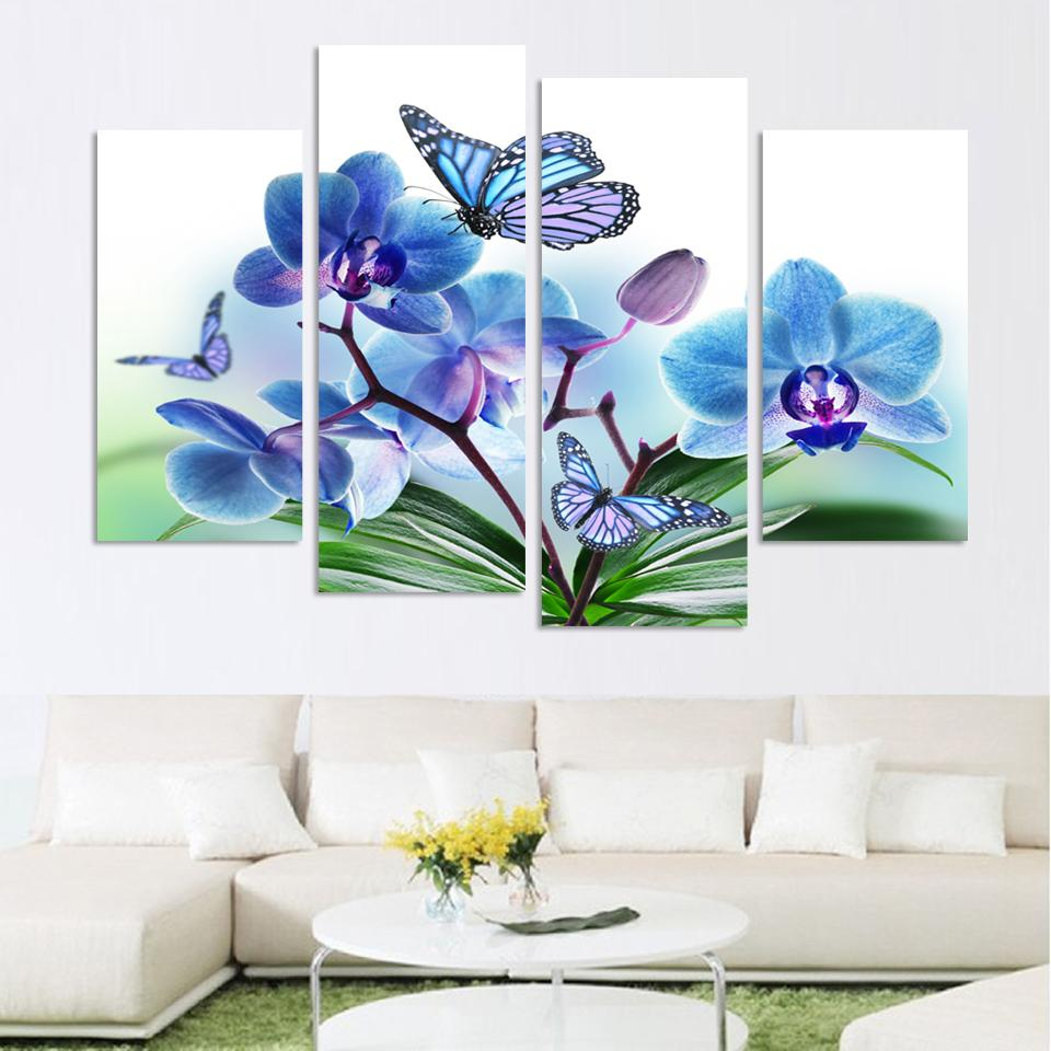 US $11.37 26% OFF|4Pcs Blue/Purple Butterfly Orchid Home Decor Canvas  Painting Living Room Paint Wall Hanging Art Picture Paint On Canvas  Prints-in ...