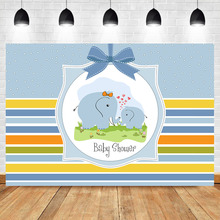 NeoBack Cute Elephant Backdrop Blue Baby Shower Party Background Photography Dessert Table Photographic Props