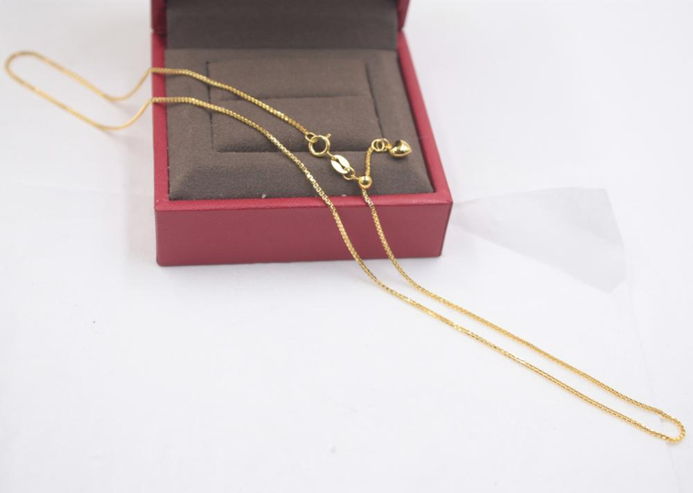 Real 18K Yellow Gold Chain Lucky Box Womans Necklace / 17.7 INCH Adjustable New 2.1-2.3g 0.8mmReal 18K Yellow Gold Chain Lucky Box Womans Necklace / 17.7 INCH Adjustable New 2.1-2.3g 0.8mm