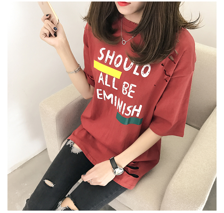 XL- 4XL 2019 new plus size summer loose High Street hole Letter print short sleeve O-Neck women T-shirt top tee TY5 28
