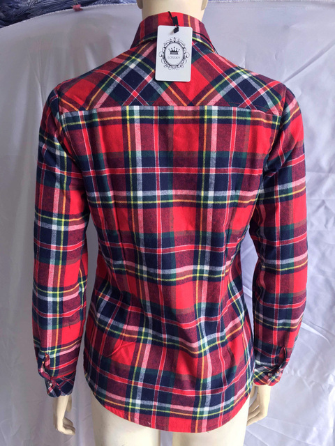 Warm Long Sleeve Turn-down Collar  Plaid Blouse