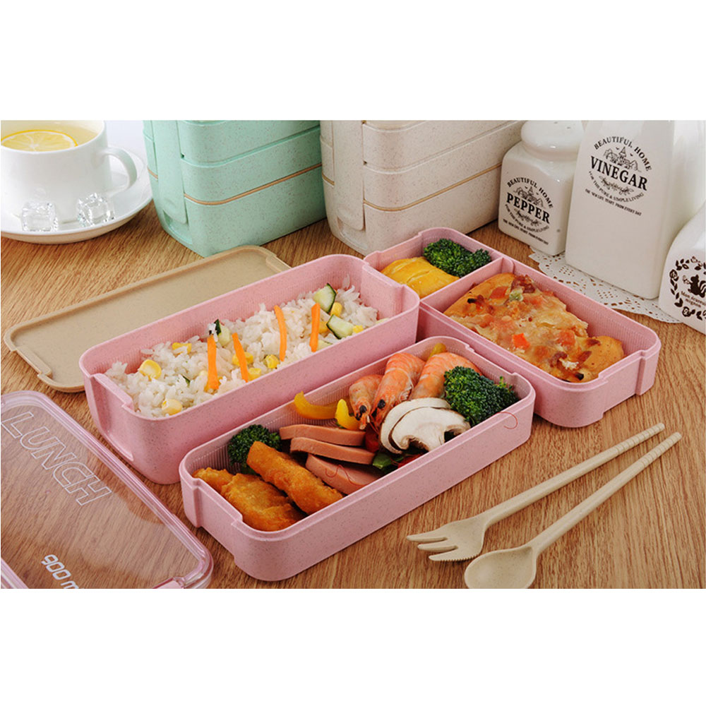 Wheat Straw Lunchbox with Spoon Fork Fruit Food Meal Storage Container Box Bento Lunch Boxes For Student Office Tableware Gift
