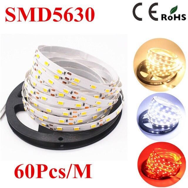 5630 SMD LED strip flexible light 12V Non-Waterproof 60LED/m 5m/lot,New LED Chip 5630 Bright Than 5050,Super Bright