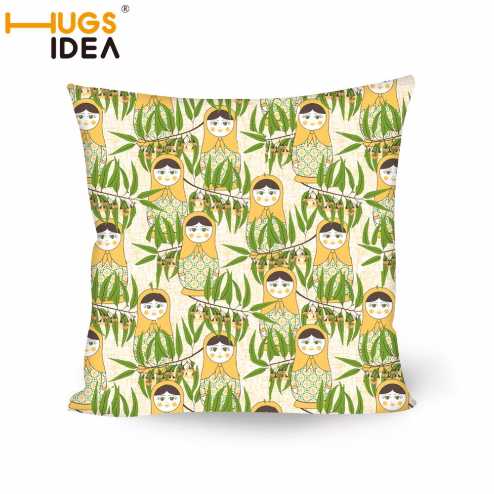 Home Textile Hugsidea Home Decor Throw Cushion Covers Russian Doll Matryoshka Square Pillowcases Fashion Sofa/chair Seat Car Pillow Cases Table & Sofa Linens