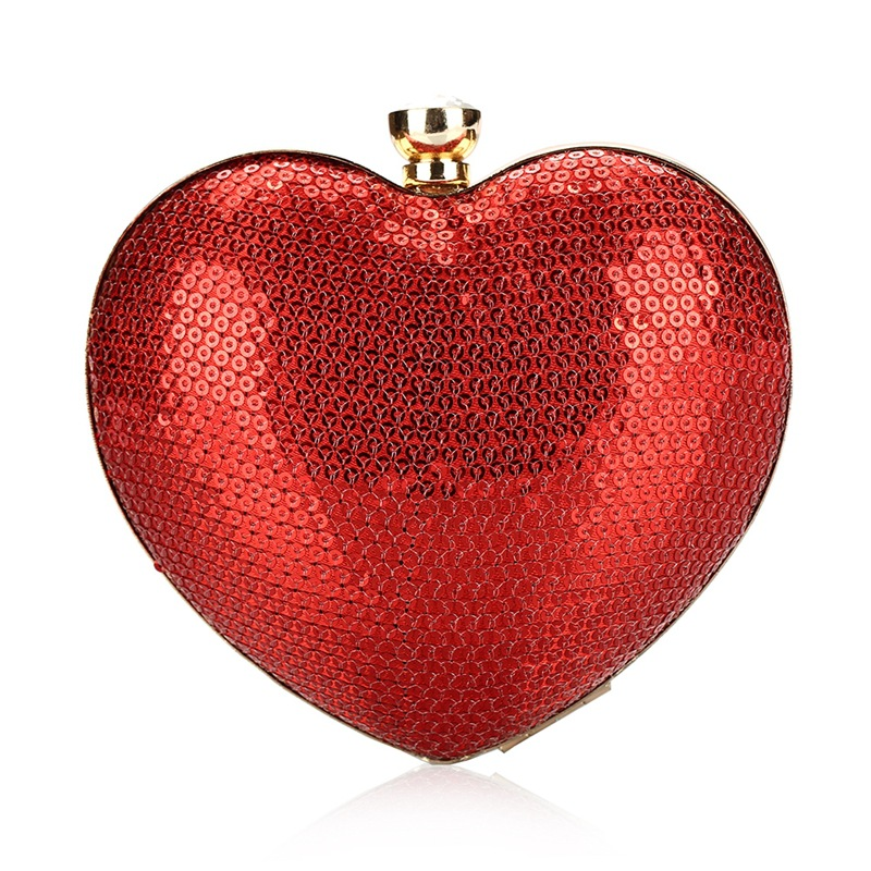 2018 new Fashion Women Red Heart Shape Small Evening Bags Crystal Bling Lady Party Banquet Wedding Handbags and Purses Clutches цена