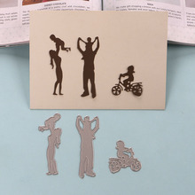 DUOFEN METAL CUTTING DIES Happy families Dad Mum and kids embossing stencil DIY Scrapbook Paper Album 2019 new