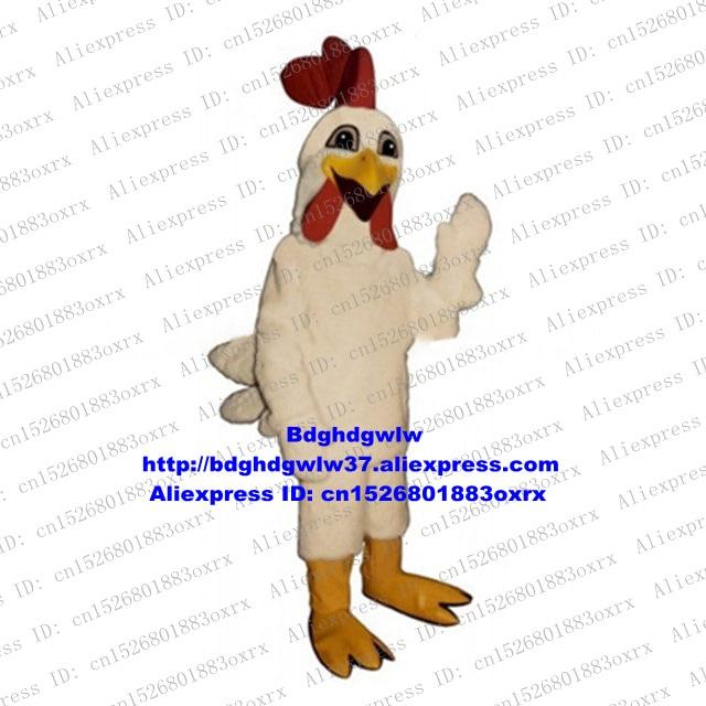 Weiß Lange Pelz Huhn Chook Hahn Hahn Henne Küken Maskottchen Kostüm Cartoon Charakter Heiraten Hochzeit Album Von Malerei Zx2200