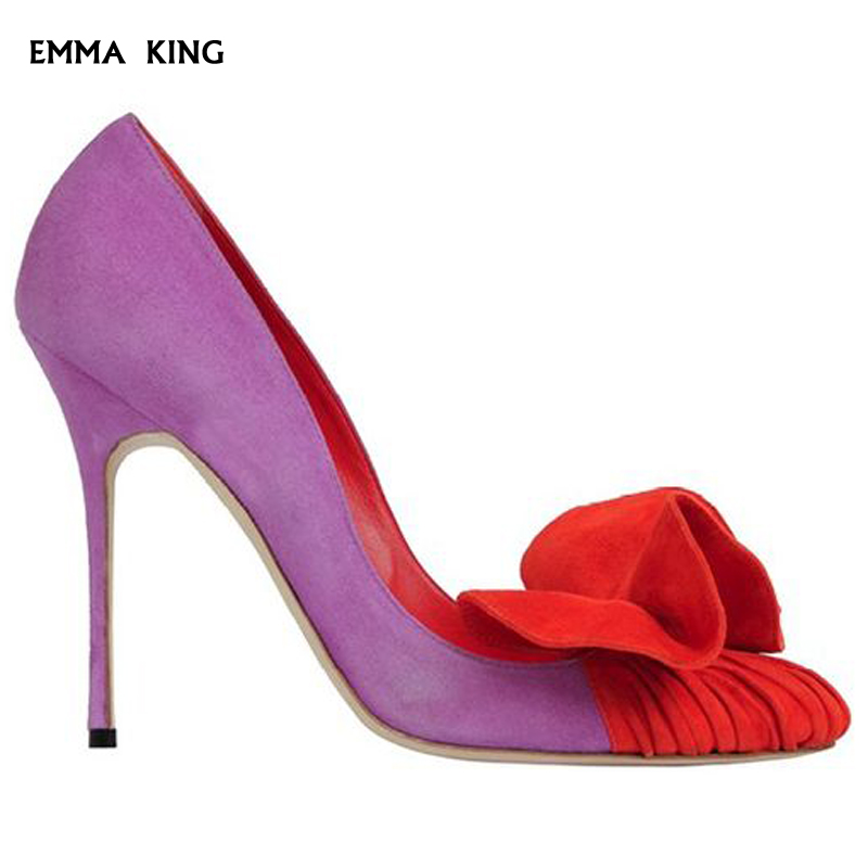 2019 New Mixed Colors Pointed-toe Suede Pumps Women Stiletto Ruffles Heels Spring Fashion Party Dress Wedding Shoes Woman