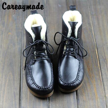 Careaymade-2019 new winter head layer cowhide handmade flat with the casual boots female sheepskin ankle warm shoes