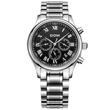 DOM 2016 Men Business Fully Automatic Mechanical Waterproof Stainless Steel Watch Leather Belt Steel Belt Day