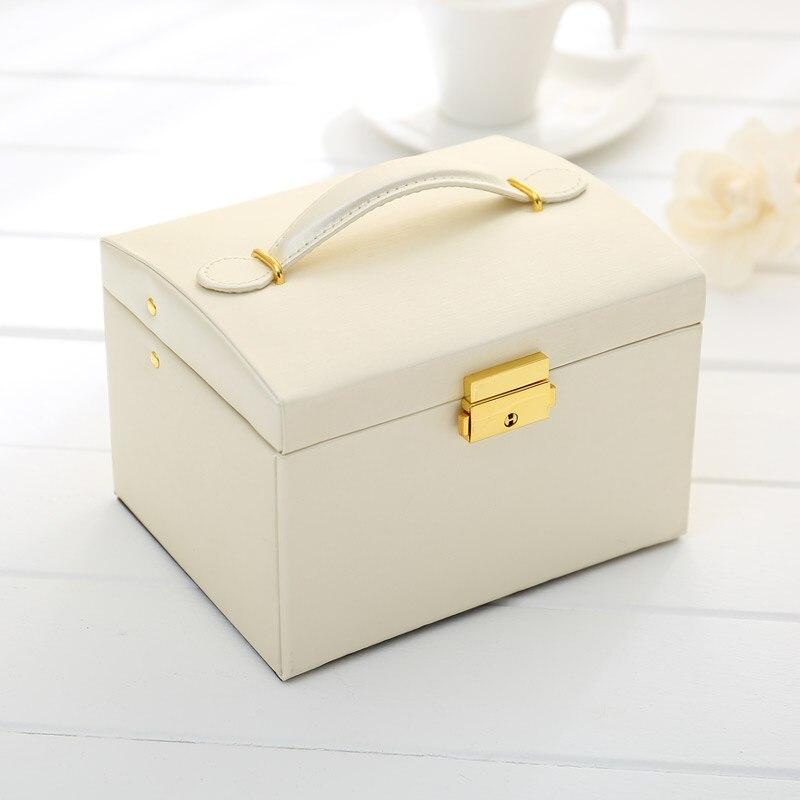 2018 Luxury Jewelry PU Box European Three Layers Storage Mirror Women Jewel Casket Double Drawer Jewelry Box Container Organizer