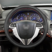 High quality Black Artificial Leather anti-slip customized car steering wheel cover For Honda Accord 8 Coupe цена и фото