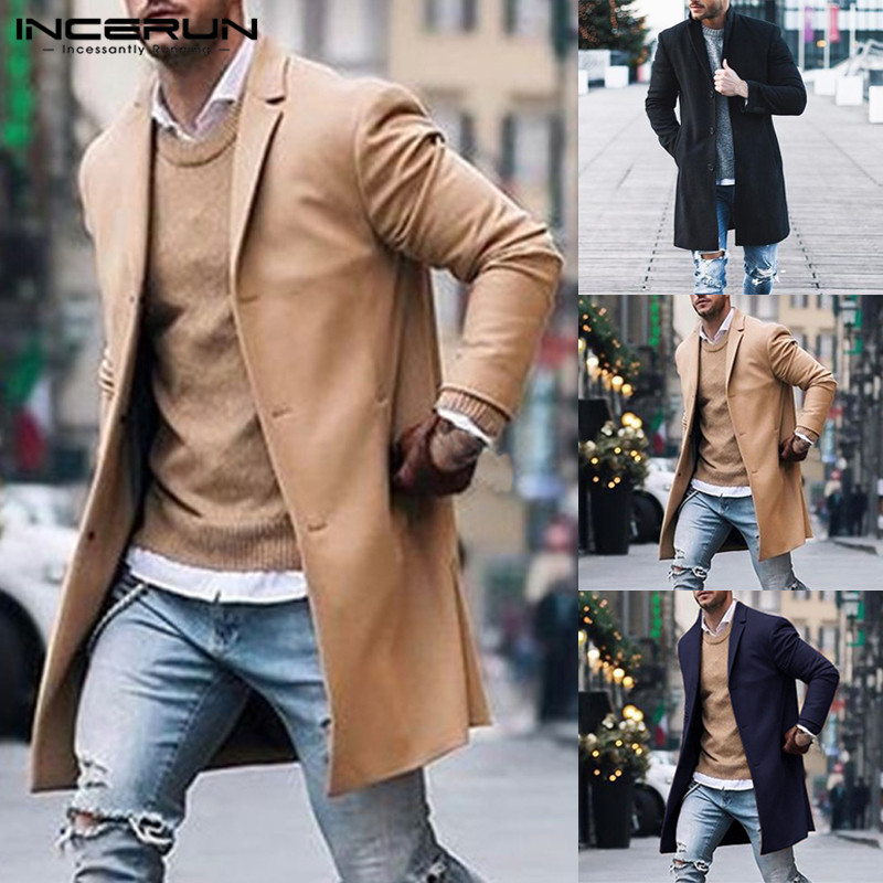 INCERUN Fashion Men   Trench   Coats Long Sleeve Winter Business Outerwear Solid Slim Fit British Style Jackets Men Windbreaker 2019