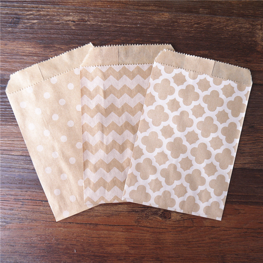 15CM*10CM Chevron dot  horizontal Flower Craft Paper Popcorn bag Food Safe Favor Paper birthday bags Designs of Party Paper Bags craft