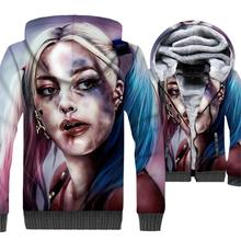 Super Hero Harley Quinn 3D Hoodies New 2019 Winter Batman The Joker Warm Fleece Jackets Fashion Sweatshirts Hip Hop Streetwear