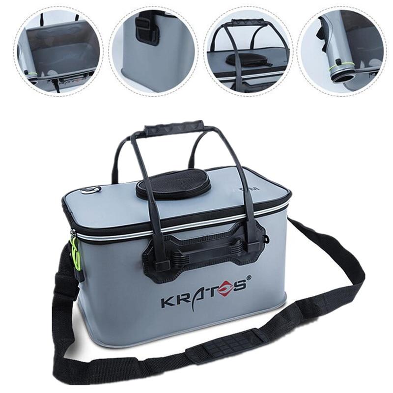Three Size Outdoor Multi-function Folding Live Fish Protection Bucket Fishing Barrel Bag Supply