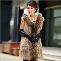 ZDFURS * Long style rabbit fur vest hooded fur knitted waistcoat Raccoon fur  trimming casual  fur gilet with pocket for women
