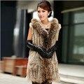 Zdfurs * estilo largo chaleco de piel de conejo de piel con capucha de punto chaleco de piel de mapache recorte ocasional gilet piel con bolsillo para mujeres