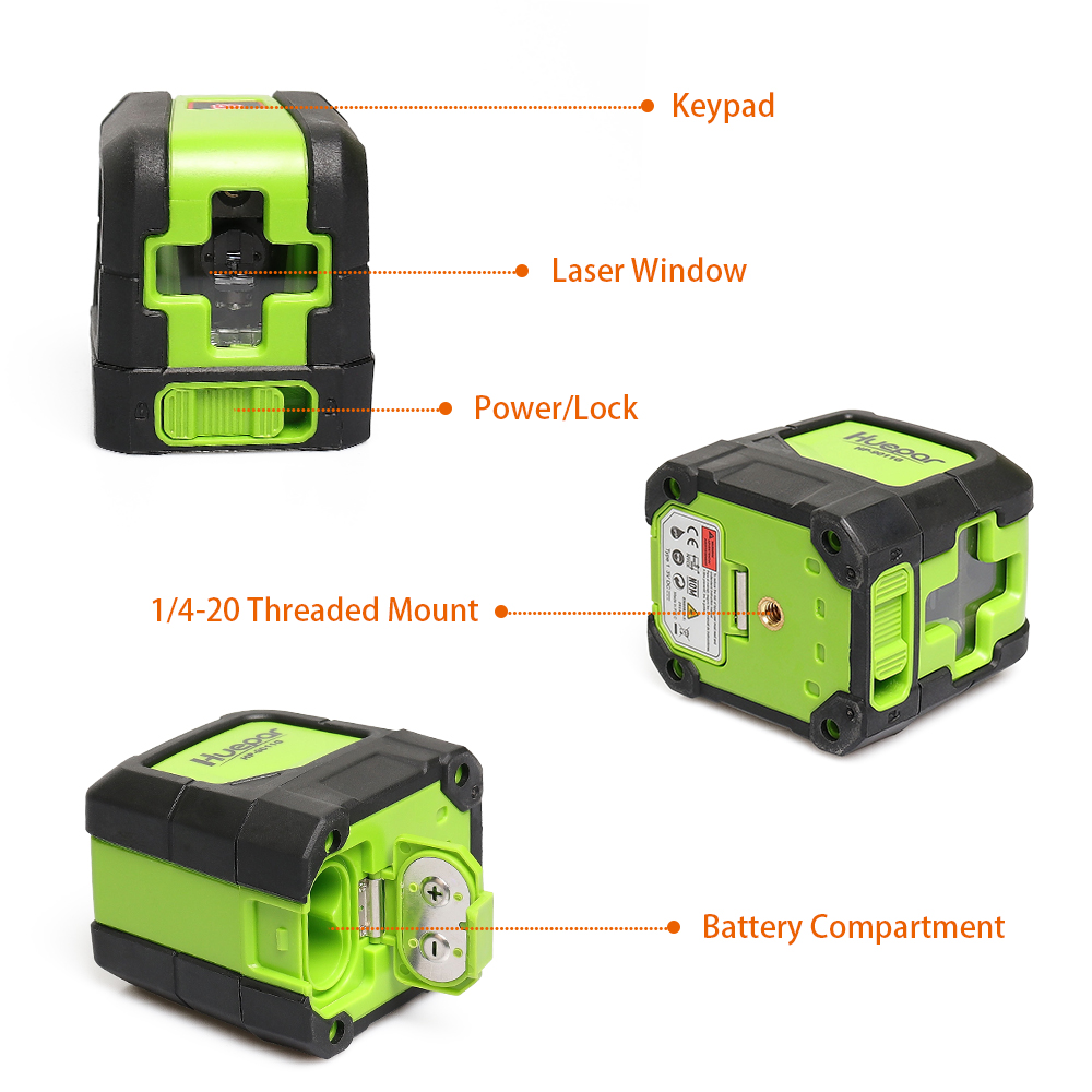 Tools : Huepar Green Laser Level DIY - Cross Line Laser Self-Leveling 9011G Bright Green Beam Laser Horizontal and Vertical Lines Laser