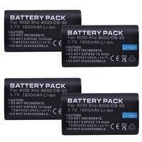 4PCS Durapro KLIC 8000 KLIC8000 DB50 DB 50 Camera Battery For Kodak Easyshare ZxD Z612 Z712 Z812 Z1085 Z1015 Z1012 Z1485 Z8612